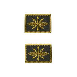 Нашивки петличные Войска Связи, оливковые с желтым кантом, на липучке