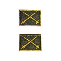 Нашивки петличные Ракетно-Зенитные войска, оливковые с желтым кантом, на липучке