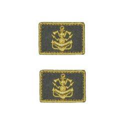 Нашивки петличные Инженерные войска, оливковые с желтым кантом, на липучке