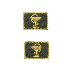 Нашивки петличные Медицинская служба, оливковые с желтым кантом, на липучке