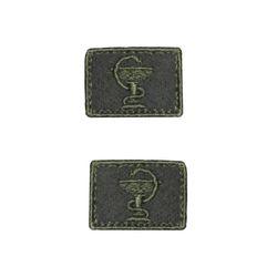 Нашивки петличные Медицинская служба, оливковые с оливковым кантом, на липучке