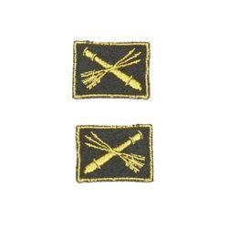 Нашивки петличные Войска ПВО, оливковые с желтым кантом, на липучке