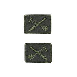 Нашивки петличные Войска ПВО, оливковые с оливковым кантом, на липучке
