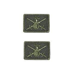 Нашивки петличные Сухопутные войска, оливковые с оливковым кантом, на липучке