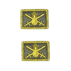 Нашивки петличные Сухопутные войска, оливковые с желтым кантом, на липучке