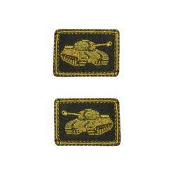 Нашивки петличные Танковые войска, оливковые с желтым кантом, на липучке