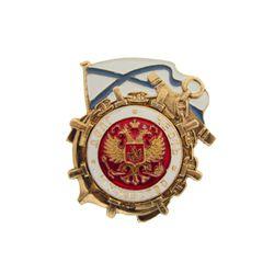 Значок  мет. Долг, честь, мужество ВМФ (красный фон), алюм.