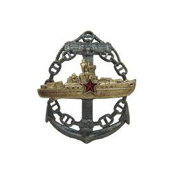 Значок  мет. Командир корабля (якорь и цепь), латунь