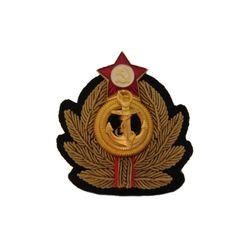 Кокарда вышитая ВМФ СССР, канитель, латунь