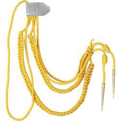 Аксельбант офицерский с 2-мя наконечниками, желтая шелковая нить