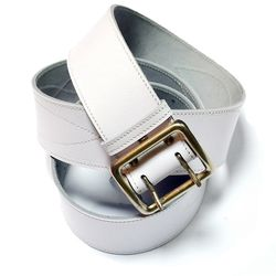 Ремень офицерский с металл. пряжкой, белый