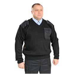 Джемпер форменный черный, с накладками и треугольным воротом