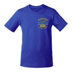 Футболка с вышивкой Мурманск, синяя, детская