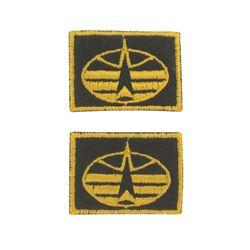 Нашивки петличные Космические войска, оливковые с желтым кантом, на липучке