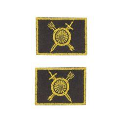Нашивки петличные РВСН, оливковые с желтым кантом, на липучке.