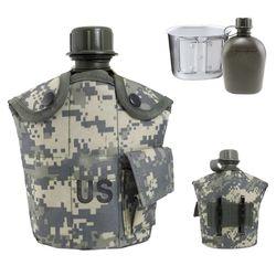Фляга армейская с котелком, в чехле, кмф ACU Digital
