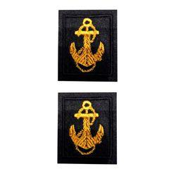 Нашивки петличные ВМФ, черный фон с желтым якорем