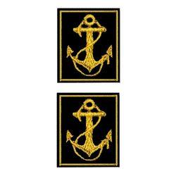 Нашивки петличные ВМФ, черный фон с желтым якорем и кантом (на липучке)