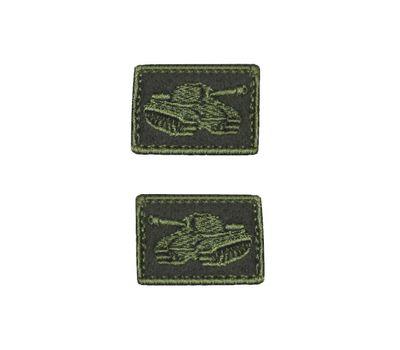 Нашивки петличные Танковые войска, оливковые с оливковым кантом, на липучке