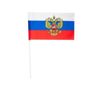 Флаг России с гербом шелковый 15*23 на палочке