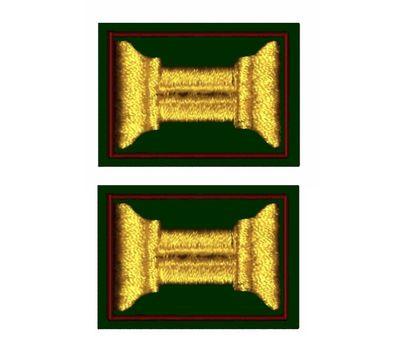 Нашивки петличные ВС (катушка), оливковый фон, желтая нить и красный кант (липучка)