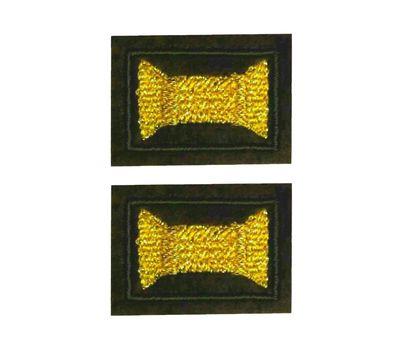 Нашивки петличные ВС (катушка), оливковый фон, желтая нить (люр